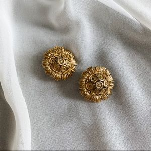 Vintage Monet Gold Chunky Sunflower Earrings